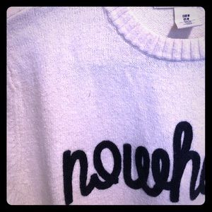 "White and blue ""Nowhere"" sweater"